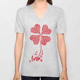 Lucky Four Leaf Clover Heart Valentine Flower Unisex V-Neck