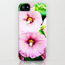 Pink Hollyhocks Cluster iPhone Case