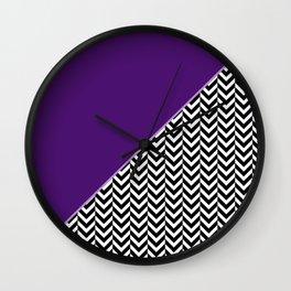 Chevron and Purple Print Wall Clock