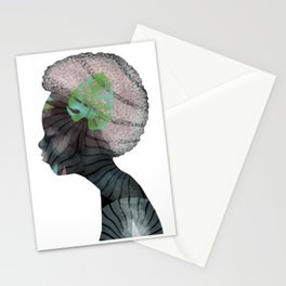 Woman Listening or Dreaming Stationery Cards