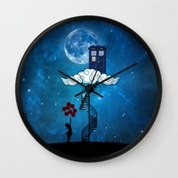 banksy Wall Clocks featuring Tardis Stair banksy ballons Girl by neutrone