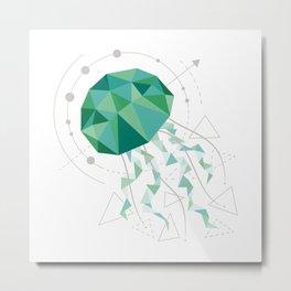 Low Poly Jellyfish White Metal Print