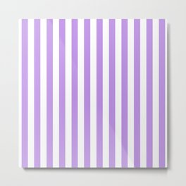Large Lilac and White Vertical Cabana Tent Stripes Metal Print