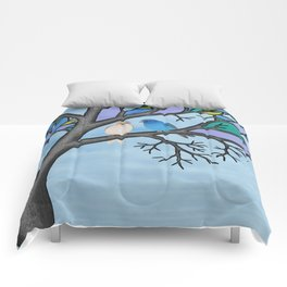 indigo buntings in the stained glass tree Comforters