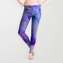 Peacock purple lavender hand painted bright abstract watercolor wash Leggings