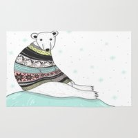 polar bear Area & Throw Rugs featuring Polar Bear by Roehrs Avenue