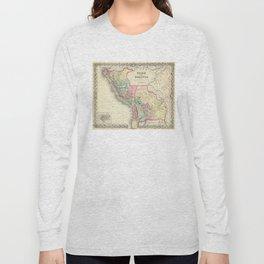 Vintage Map of Peru and Bolivia (1856) Long Sleeve T-shirt