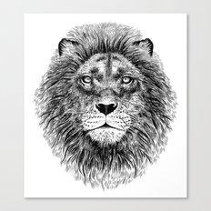 Black+White Lion Canvas Print
