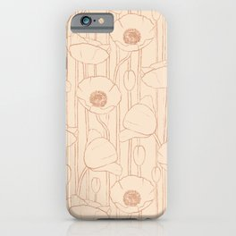 Poppies Field, Floral Hand-drawn Pattern, Rose-gold Texture  iPhone Case