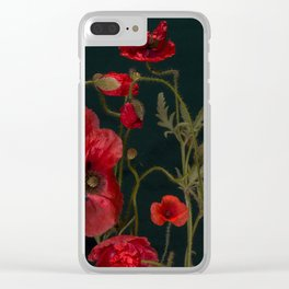 Red Poppies On Black Clear iPhone Case