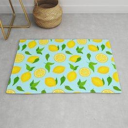 Summer Lemons Pattern - Yellow and Pastel Blue Palette Rug