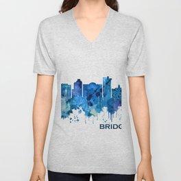 Bridgeport Connecticut Skyline Blue Unisex V-Neck