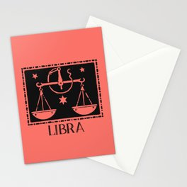 Libra Vintage Zodiac on Living Coral Stationery Cards