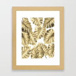 Gold Monstera Leaves on White 2 Framed Art Print