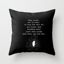 Putting Up Walls Throw Pillow