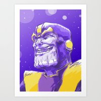 thanos Art Prints featuring Thanos by Adam Reck