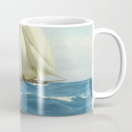 Vintage Sailing Sloop Yacht Painting (1910) Coffee Mug