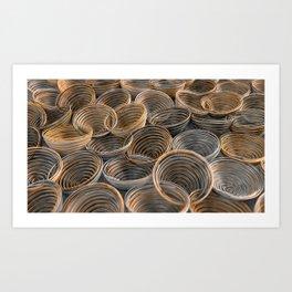 Black, white and orange spiraled coils Art Print