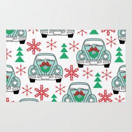vintage christmas cars Rug