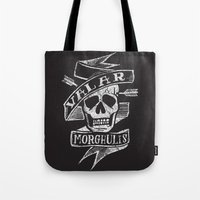 valar morghulis Tote Bags featuring all men must die by Matthew Taylor Wilson