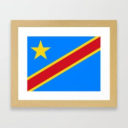National flag of the Democratic Republic of the Congo, Authentic version (to scale and color) Framed Art Print