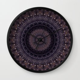 Mandala in cherry and plum tones Wall Clock