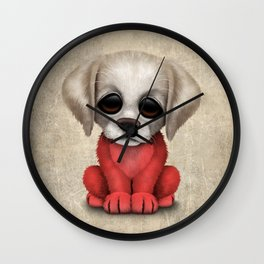 Cute Puppy Dog with flag of Poland Wall Clock