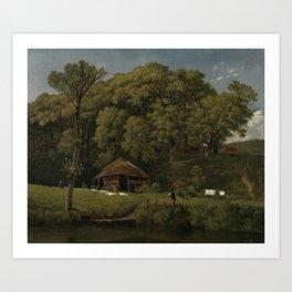 A Barn on the Bank of a Stream in Gelderland - Wouter Johannes van Troostwijk (1805 - 1810) Art Print