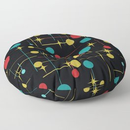 Circles and Lines in Black Floor Pillow