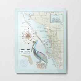 Sarasota & Siesta Key Area Map Metal Print