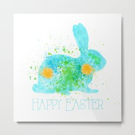 Happy easter - Blue Bunny Metal Print