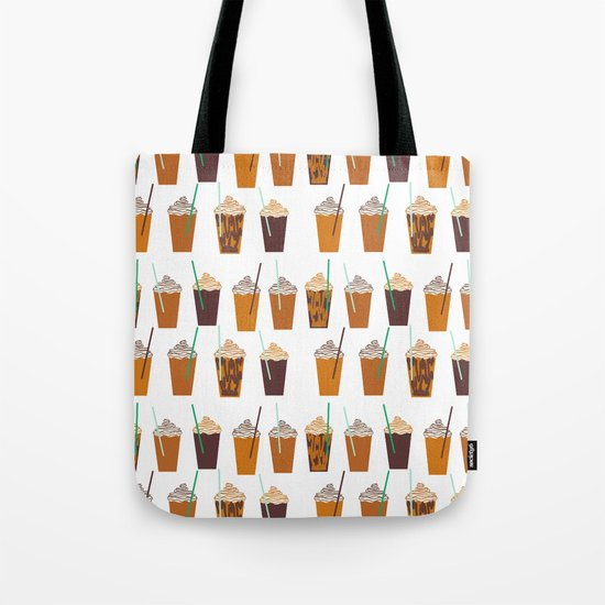Pumpkin Spiced Latte fall autumn winter seasonal coffee drinks pattern Tote Bag