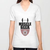 muscle V-neck T-shirts featuring MUSCLE GEEK  by Robleedesigns