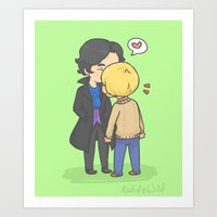 johnlock Art Prints featuring Johnlock Kisses by KalesButt