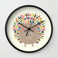 hug Wall Clocks featuring Give Me A Hug by Andy Westface