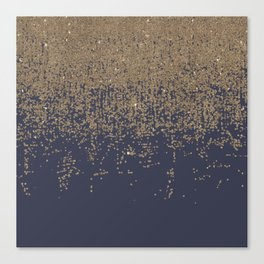 Navy Blue Gold Sparkly Glitter Ombre Canvas Print