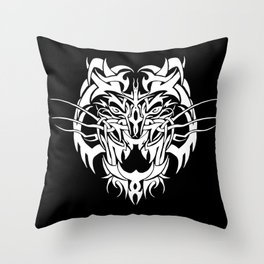 Tiger White Throw Pillow