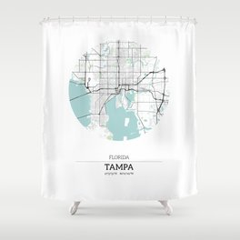 Tampa Florida City Map with GPS Coordinates Shower Curtain