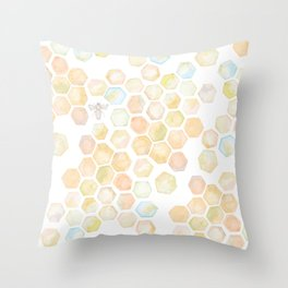Bee and honeycomb watercolor Throw Pillow