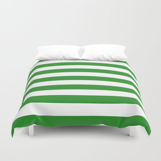 Horizontal Stripes (Forest Green/White) Duvet Cover