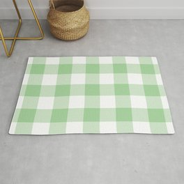 Mint Gingham Pattern Rug