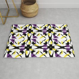 Ornaments damask seamless yellow violet black decorative vector squares pattern-05 Rug