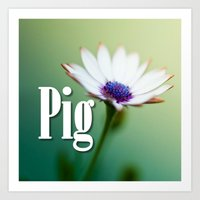 pig Art Prints featuring Pig by Wanker & Wanker