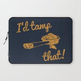 I'd Tamp That! (Espresso Portafilter) // Mustard Yellow Barista Coffee Shop Humor Graphic Design Laptop Sleeve