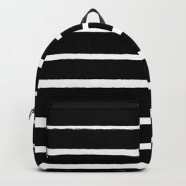 Rough White Thin Stripes on Black Backpack