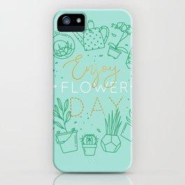 Monogram pots with plants enjoy flower turquoise iPhone Case