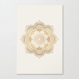 Mandala beige creamy pattern 2 Canvas Print