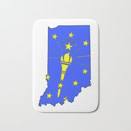 Indiana Map with Indiana State Flag Bath Mat