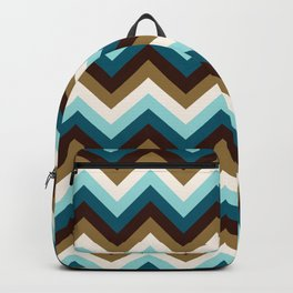 Funky Zigzag Pattern Teals Brown Gold Cream Backpack