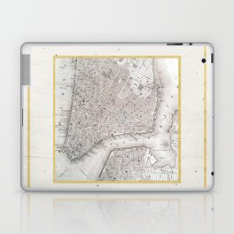 Vintage New York City Gold Foil Location Coordinates with map Laptop & iPad Skin
